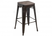 Барный стул Tolix Bar wood CColl T-2103B-26 bronze / brown walnut